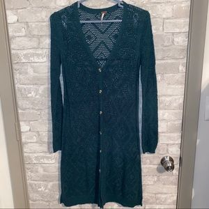 Free people knit long cardigan sweater sz S